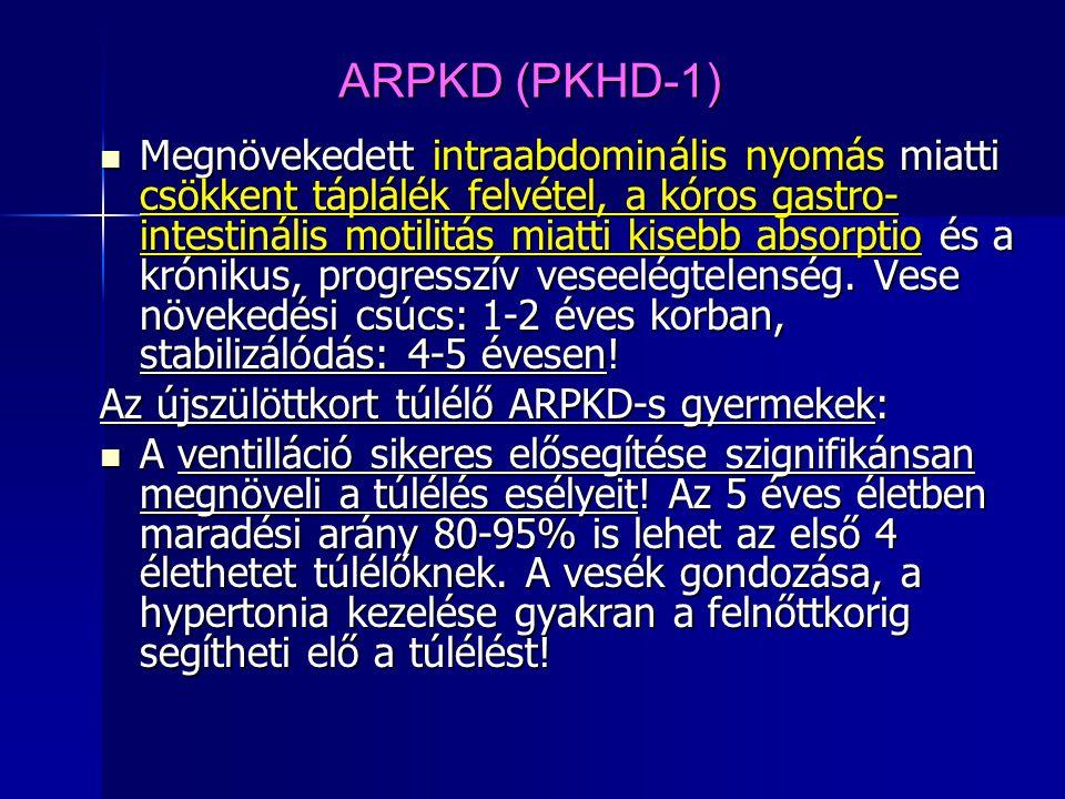 ARPKD (PKHD-1) Megnövekedett intraabdominális nyomás miatti csökkent táplálék felvétel, a kóros gastro- intestinális motilitás miatti kisebb absorptio