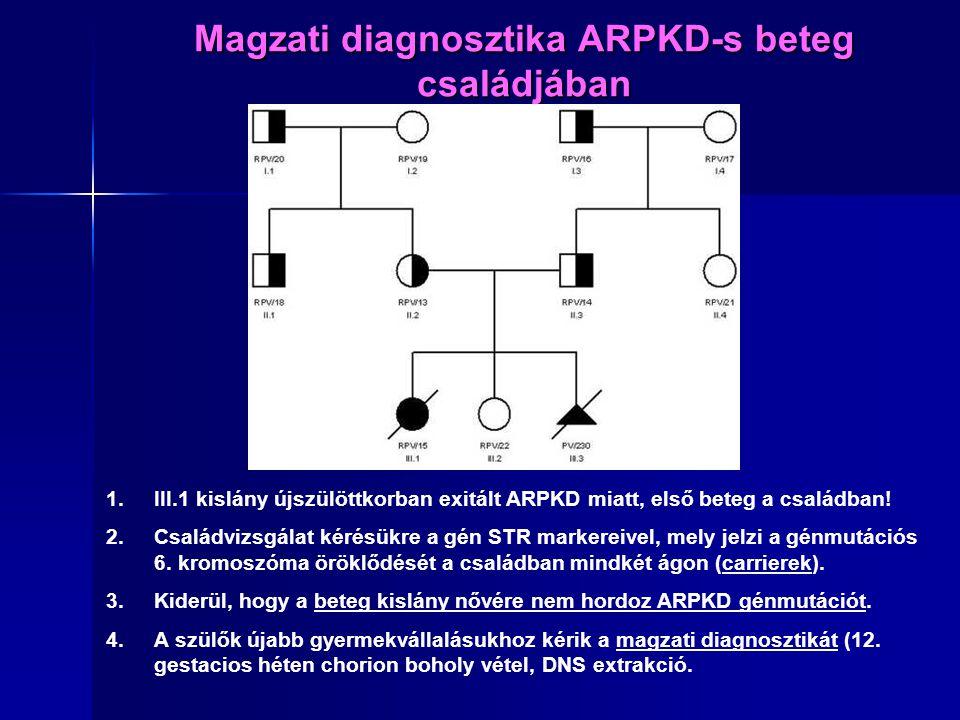 Magzati diagnosztika ARPKD-s beteg családjában 1.III.1 kislány újszülöttkorban exitált ARPKD miatt, első beteg a családban! 2.Családvizsgálat kérésükr