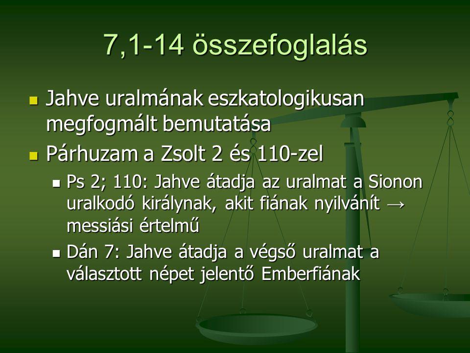 7,1-14 összefoglalás Jahve uralmának eszkatologikusan megfogmált bemutatása Jahve uralmának eszkatologikusan megfogmált bemutatása Párhuzam a Zsolt 2
