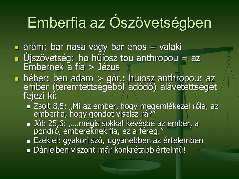 Emberfia az Ószövetségben arám: bar nasa vagy bar enos = valaki arám: bar nasa vagy bar enos = valaki Újszövetség: ho hüiosz tou anthropou = az Embern