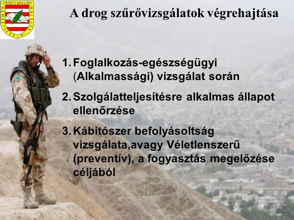 A drog szűrővizsgálatok végrehajtása 1.Foglalkozás-egészségügyi (Alkalmassági) vizsgálat során 2.Szolgálatteljesítésre alkalmas állapot ellenőrzése 3.