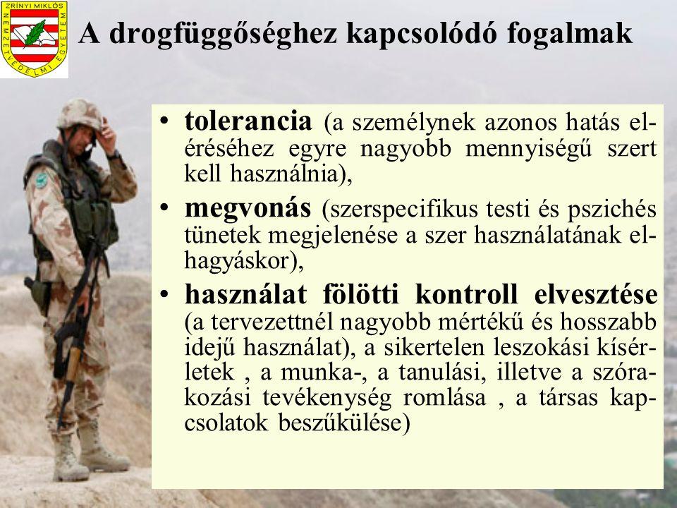 A drogfüggőséghez kapcsolódó fogalmak tolerancia (a személynek azonos hatás el- éréséhez egyre nagyobb mennyiségű szert kell használnia), megvonás (sz