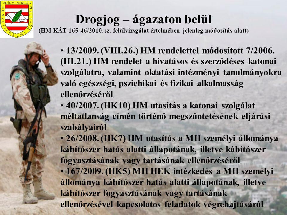 Az MH drogprevenciós tevékenységének irányai Nemzeti drogstratégiával összhangban a MH Drogprevenciós Stratégiájának Stratégiai pillérek: prevenció – megelőzés kezelés-ellátás-ártalomcsökkentés kínálatcsökkentés Zéró tolerancia elvének érvényesítése MH-ban folyó drogprevenciós munka koordinálása MH Drogprevenciós Regionális Albizottságok munkájának irányítása A tárca képviselete a MK Kábítószerügyi Koordinációs Bizottságában