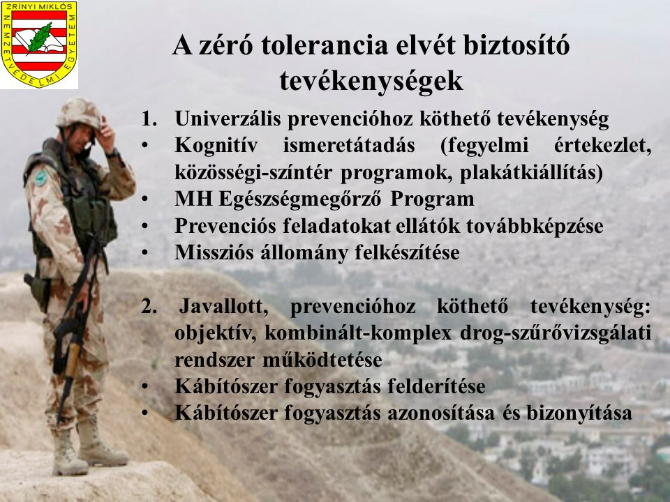 A zéró tolerancia elvét biztosító tevékenységek 1.Univerzális prevencióhoz köthető tevékenység Kognitív ismeretátadás (fegyelmi értekezlet, közösségi-