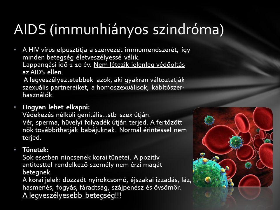 A HIV vírus elpusztítja a szervezet immunrendszerét, így minden betegség életveszélyessé válik.