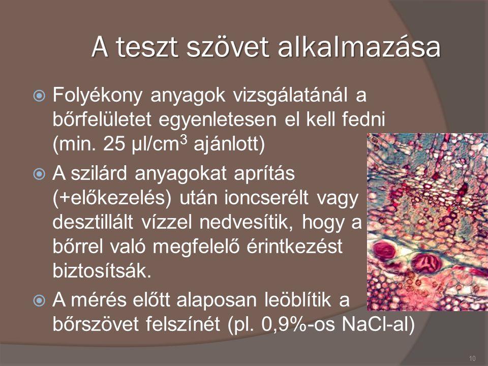 A teszt szövet alkalmazása  Folyékony anyagok vizsgálatánál a bőrfelületet egyenletesen el kell fedni (min.