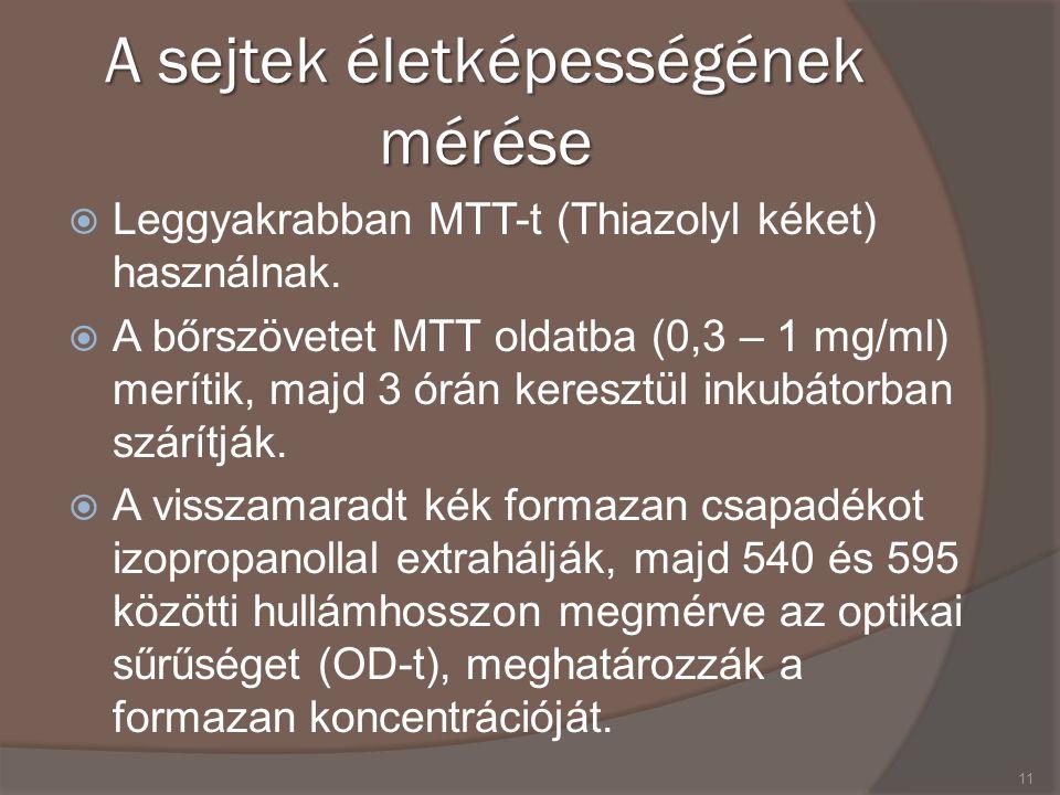 A sejtek életképességének mérése  Leggyakrabban MTT-t (Thiazolyl kéket) használnak.