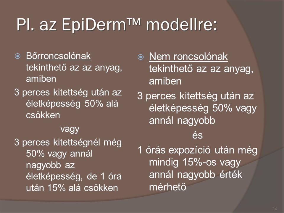 Pl. az EpiDerm™ modellre:  Bőrroncsolónak tekinthető az az anyag, amiben 3 perces kitettség után az életképesség 50% alá csökken vagy 3 perces kitett