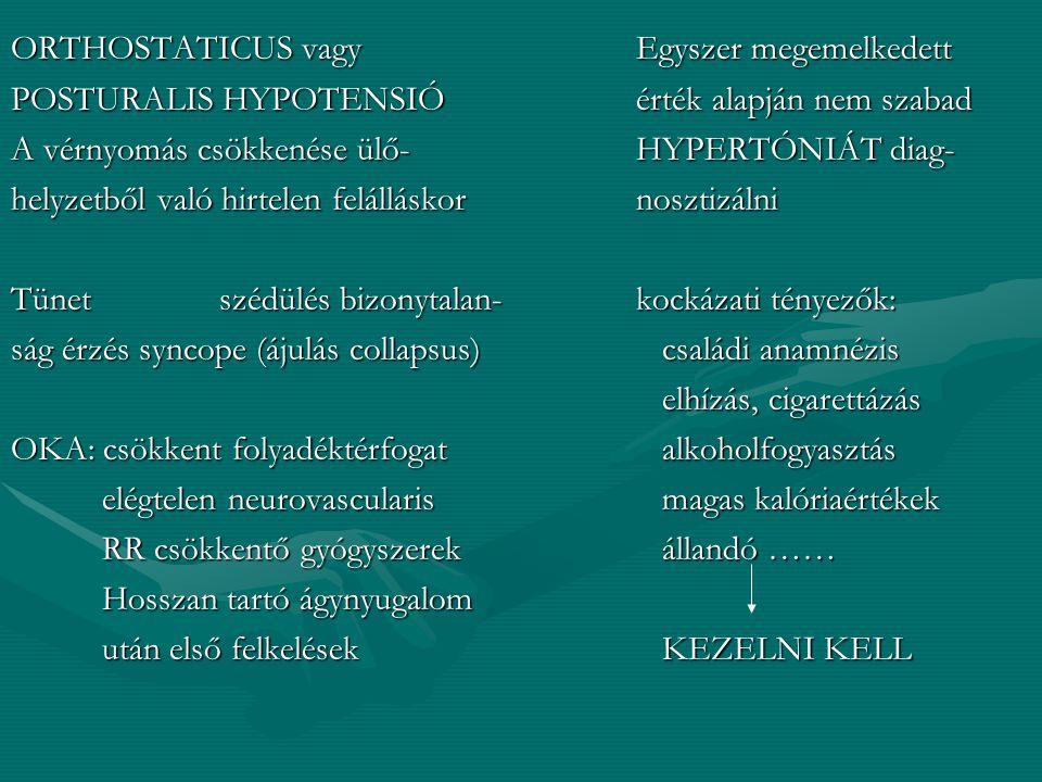 ELTÉRÉSEK HYPOTONIA HYPERTONIA 100 Hgmm alatt SYST. Systolés érték 140 Hgmm A haemodinamikai tényezők diastolés 100 lefelé mutató változása okoz- A ha