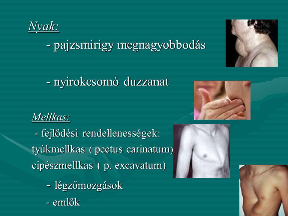 IV. Szem:IV. Szem: - Sclera sárga→hepatitis, májtumor - Sclera sárga→hepatitis, májtumor –Pupillák kitágulása: -glaucoma, gyógyszer (atropin),gyógysze