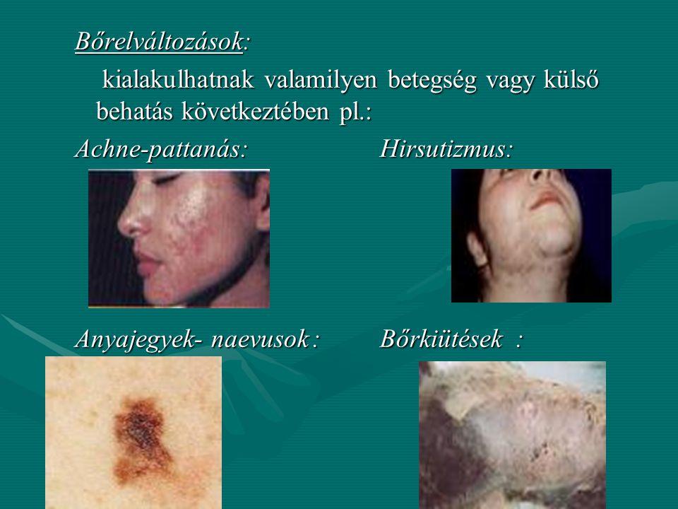 A bőr tapintata: Száraz: érdes, néha kisebb-nagyobb pikkelyekben hámlik, Száraz: érdes, néha kisebb-nagyobb pikkelyekben hámlik, Nedves: a bőr verejté