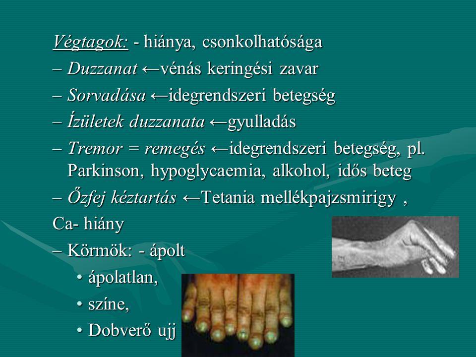 Gyulladás: a beteg terület felett Allergia: kézfej, ajkak, gégevizenyő Test – testrészek: Test – testrészek:Fej: -Haj: alopecia: körülírt kopaszság, (