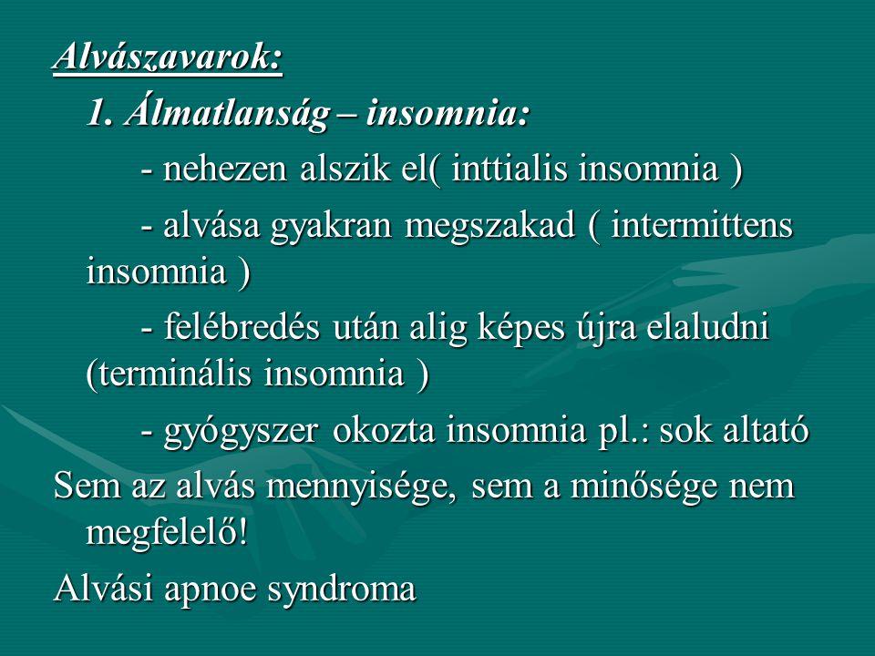 Egészséges felnőtt ember alvási ciklusa: - Bevezető elalvási szakasz - 10-30 perc - Felületes alvás - Mélyülő alvás (90 perc) - az alvás mélyülése vis