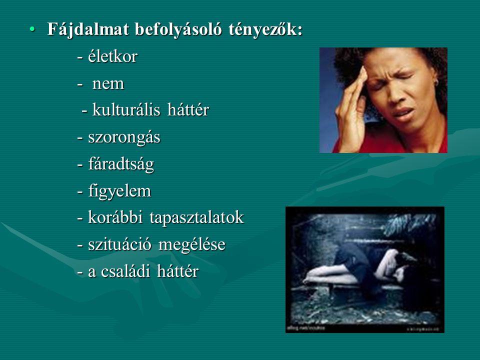 A fájdalom megfigyelése Sajátos neurofiziológiai jelenség, vészreakció. Jelenléte betegségre, bajra hívja fel a figyelmet!! (kivéve: menstruáció, szül