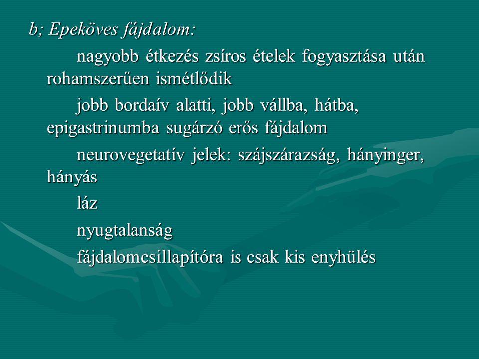 """Ulcus duodeni: jól körülhatárolható, éles, égő jellegű """"éhség"""" fájdalom, amely étkezésre szűnik Perforatio: éles, késszúrásszerű fájdalom Tenesmus: eg"""