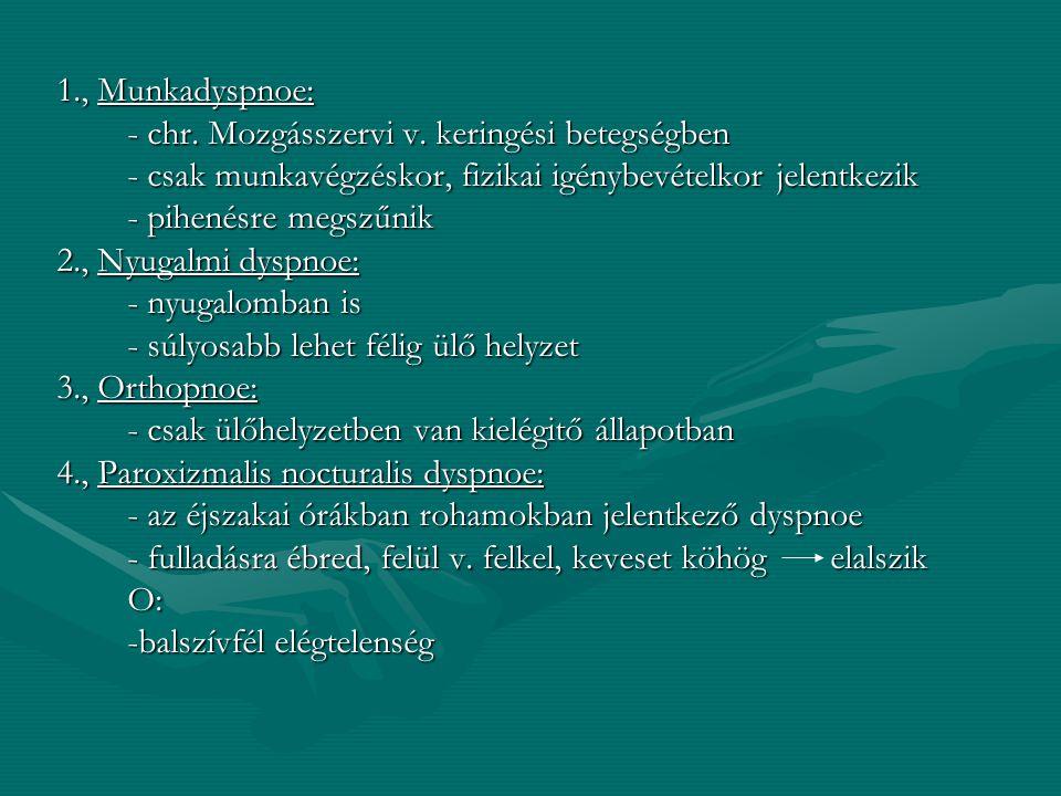 Dyspnoet okozó kórképek, betegségek: A., Légzőszervek betegségei: - légúti szűkület - légzőfelület - a légzőizom bénulása B., Szívelégtelenség C., Oxy