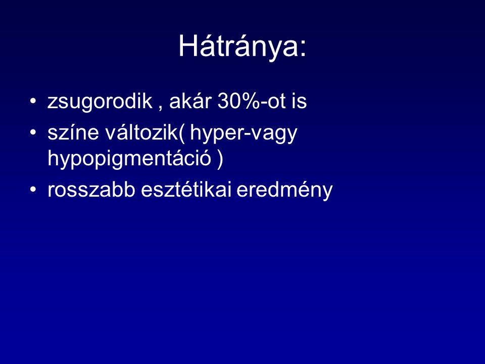 Hátránya: zsugorodik, akár 30%-ot is színe változik( hyper-vagy hypopigmentáció ) rosszabb esztétikai eredmény