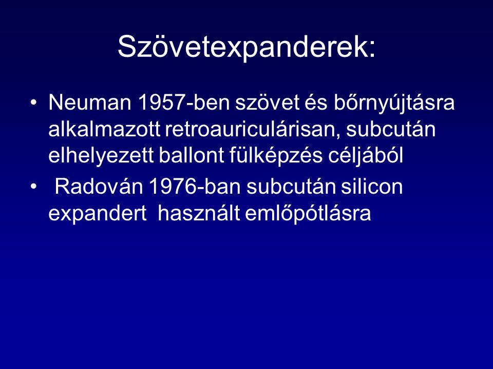 Szövetexpanderek: Neuman 1957-ben szövet és bőrnyújtásra alkalmazott retroauriculárisan, subcután elhelyezett ballont fülképzés céljából Radován 1976-ban subcután silicon expandert használt emlőpótlásra