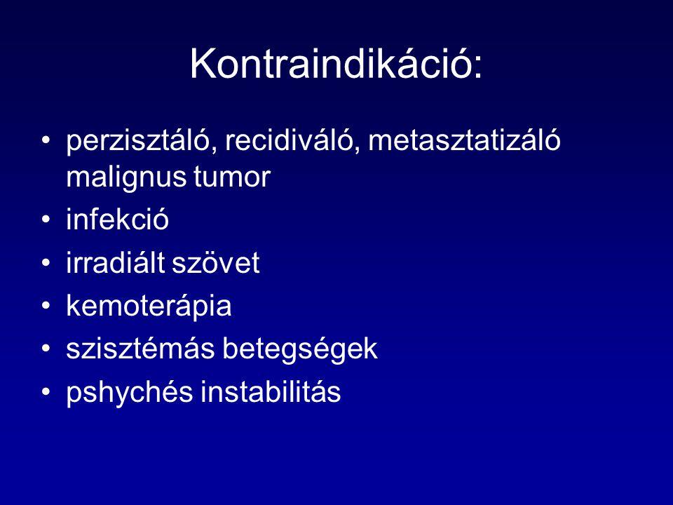 Kontraindikáció: perzisztáló, recidiváló, metasztatizáló malignus tumor infekció irradiált szövet kemoterápia szisztémás betegségek pshychés instabili