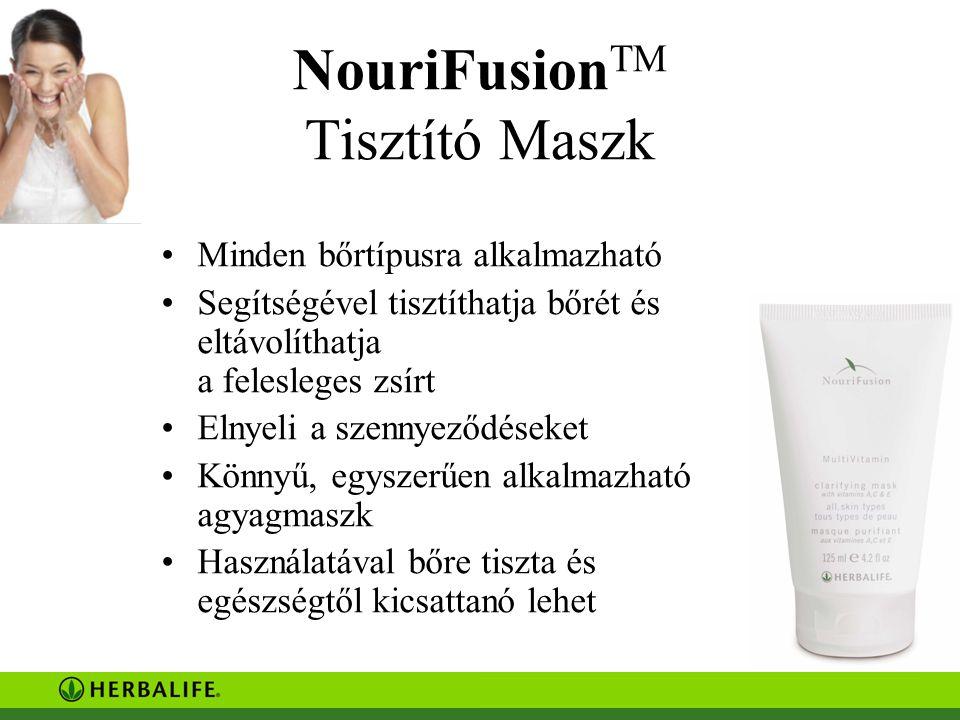 NouriFusion TM Tisztító Maszk Minden bőrtípusra alkalmazható Segítségével tisztíthatja bőrét és eltávolíthatja a felesleges zsírt Elnyeli a szennyeződéseket Könnyű, egyszerűen alkalmazható agyagmaszk Használatával bőre tiszta és egészségtől kicsattanó lehet