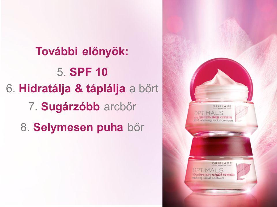 További előnyök: 5. SPF 10 6. Hidratálja & táplálja a bőrt 7. Sugárzóbb arcbőr 8. Selymesen puha bőr