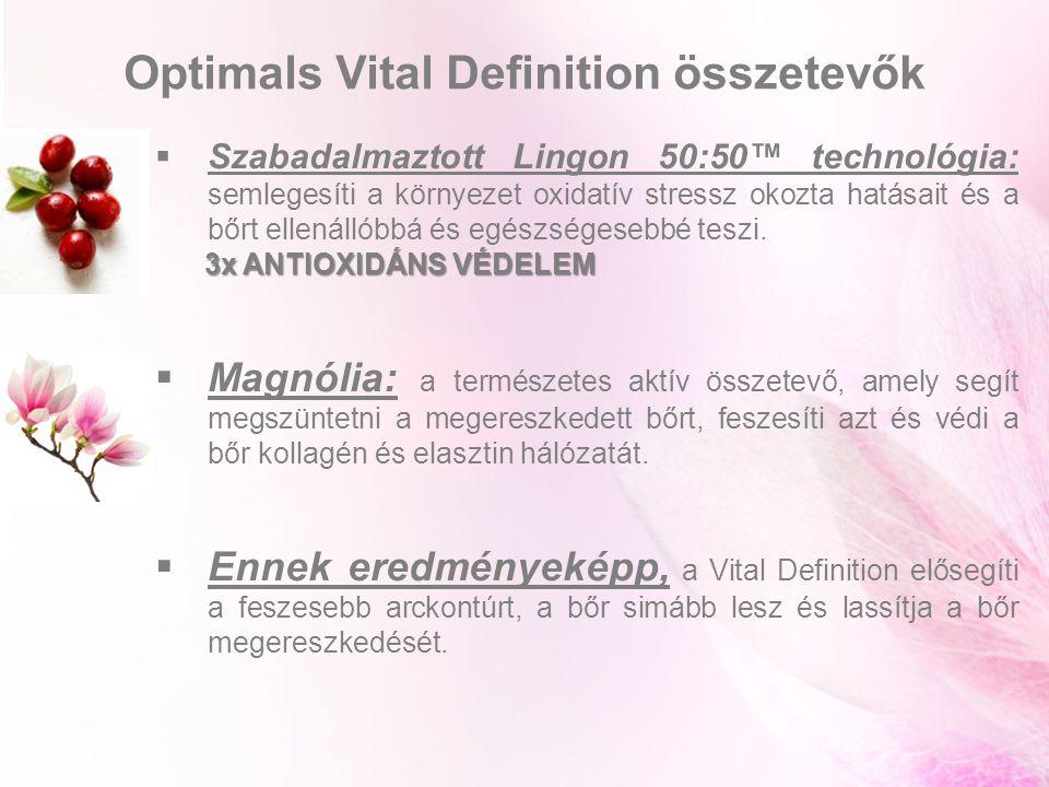 Szabadalmaztott Lingon 50:50™ technológia: semlegesíti a környezet oxidatív stressz okozta hatásait és a bőrt ellenállóbbá és egészségesebbé teszi.