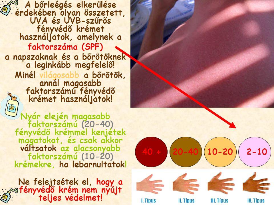 A bőrleégés elkerülése érdekében olyan összetett, UVA és UVB-szűrős fényvédő krémet használjatok, amelynek a faktorszáma (SPF) a napszaknak és a bőröt