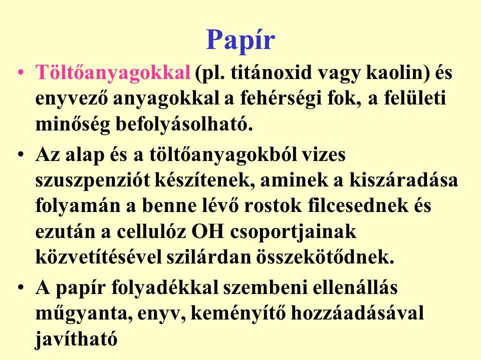 Papír Töltőanyagokkal (pl. titánoxid vagy kaolin) és enyvező anyagokkal a fehérségi fok, a felületi minőség befolyásolható. Az alap és a töltőanyagokb