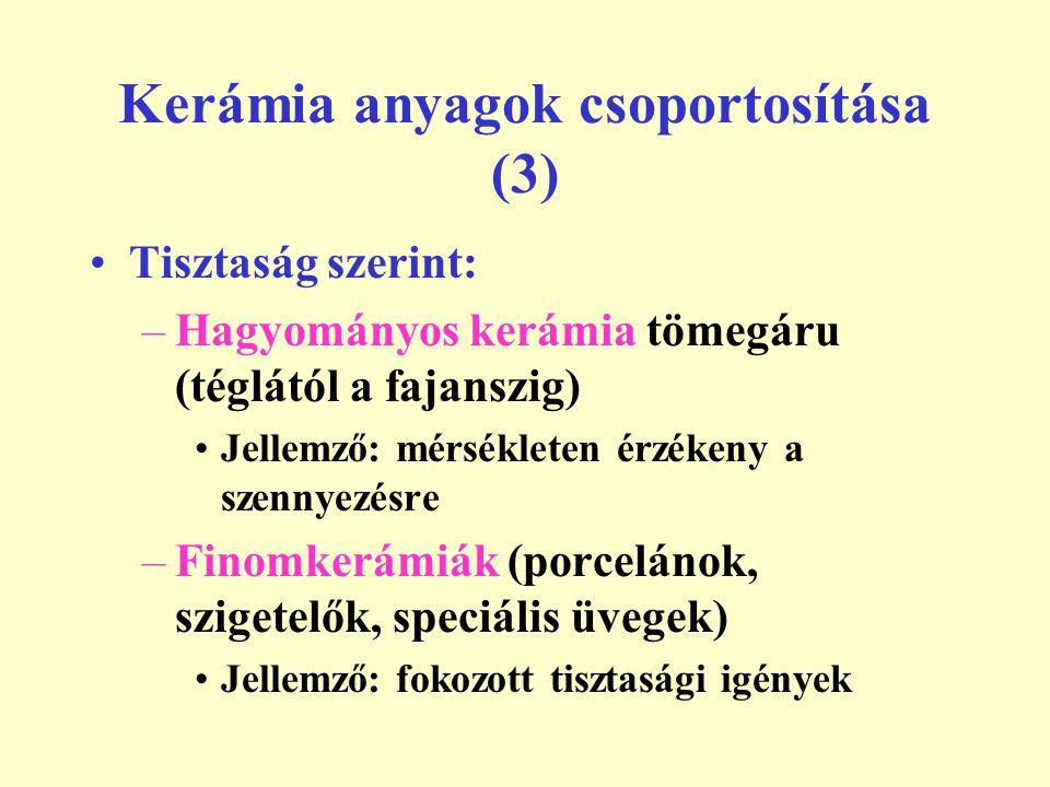 Kerámia anyagok csoportosítása (3) Tisztaság szerint: –Hagyományos kerámia tömegáru (téglától a fajanszig) Jellemző: mérsékleten érzékeny a szennyezés