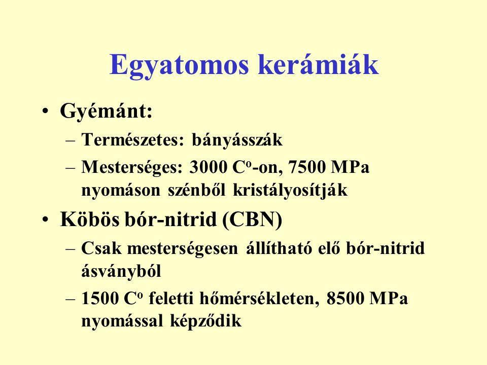 Gyémánt: –Természetes: bányásszák –Mesterséges: 3000 C o -on, 7500 MPa nyomáson szénből kristályosítják Köbös bór-nitrid (CBN) –Csak mesterségesen áll