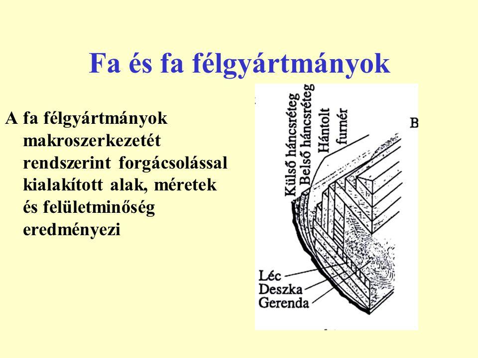 Fa és fa félgyártmányok A fa félgyártmányok makroszerkezetét rendszerint forgácsolással kialakított alak, méretek és felületminőség eredményezi