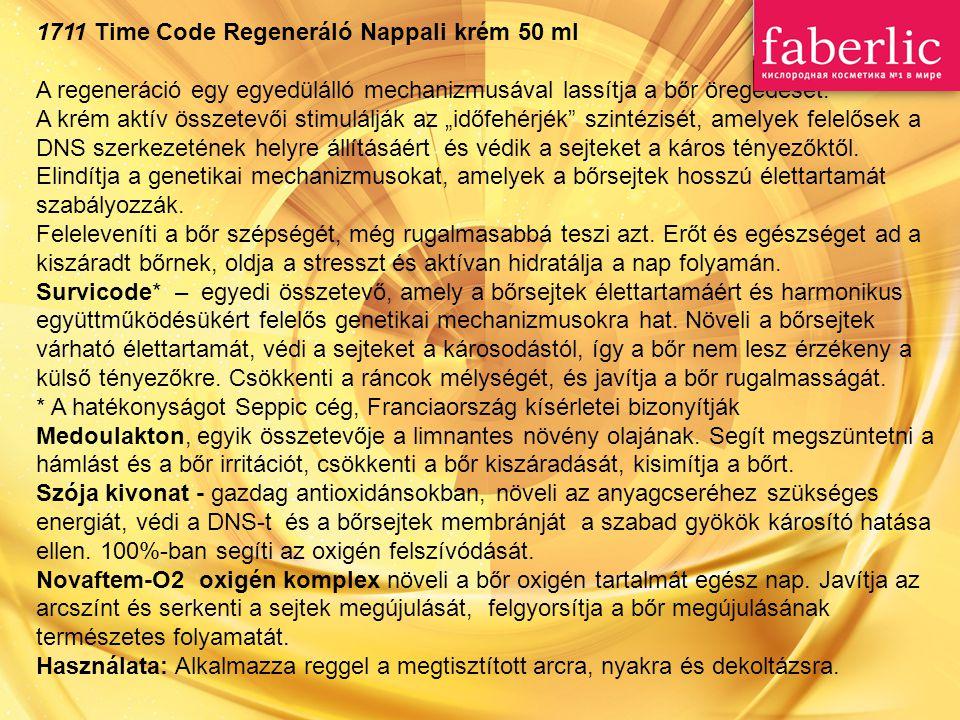 1711 Time Code Regeneráló Nappali krém 50 ml A regeneráció egy egyedülálló mechanizmusával lassítja a bőr öregedését. A krém aktív összetevői stimulál