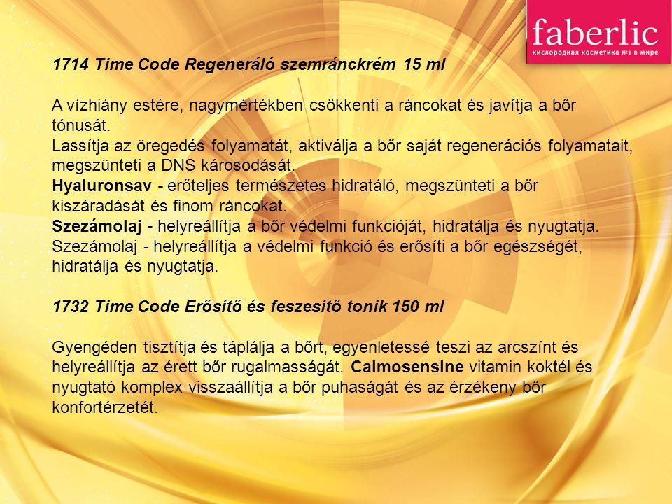 1714 Time Code Regeneráló szemránckrém 15 ml A vízhiány estére, nagymértékben csökkenti a ráncokat és javítja a bőr tónusát.