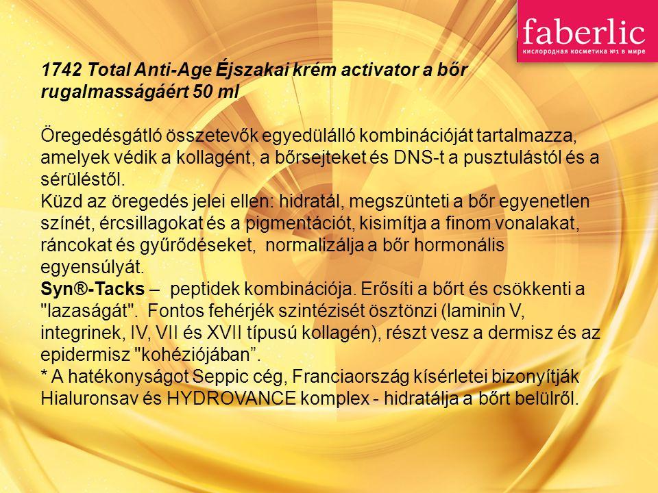 1742 Total Anti-Age Éjszakai krém activator a bőr rugalmasságáért 50 ml Öregedésgátló összetevők egyedülálló kombinációját tartalmazza, amelyek védik