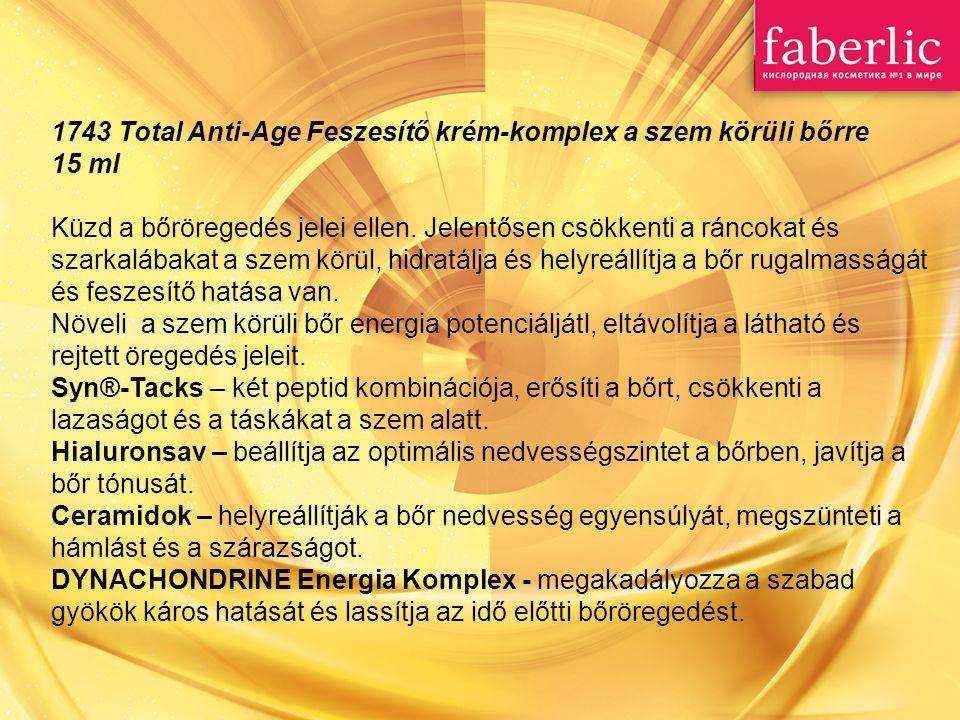 1743 Total Anti-Age Feszesítő krém-komplex a szem körüli bőrre 15 ml Küzd a bőröregedés jelei ellen. Jelentősen csökkenti a ráncokat és szarkalábakat