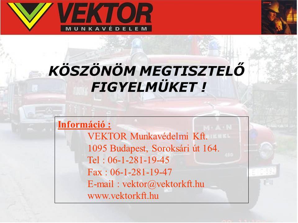 KÖSZÖNÖM MEGTISZTELŐ FIGYELMÜKET ! Információ : VEKTOR Munkavédelmi Kft. 1095 Budapest, Soroksári út 164. Tel : 06-1-281-19-45 Fax : 06-1-281-19-47 E-