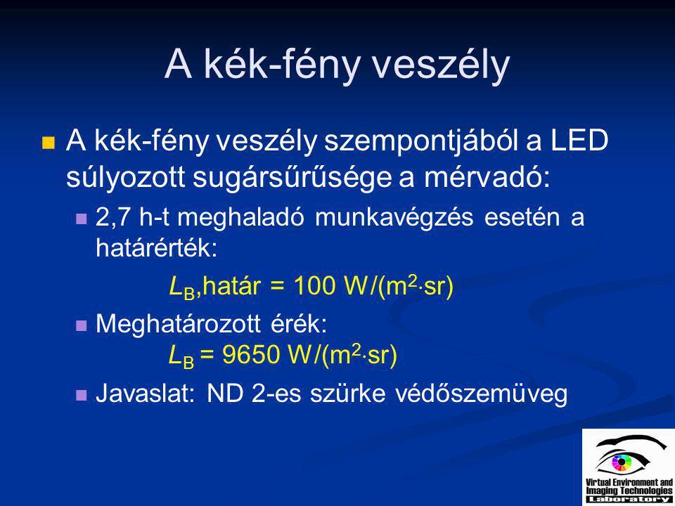 A kék-fény veszély A kék-fény veszély szempontjából a LED súlyozott sugársűrűsége a mérvadó: 2,7 h-t meghaladó munkavégzés esetén a határérték: L B,ha