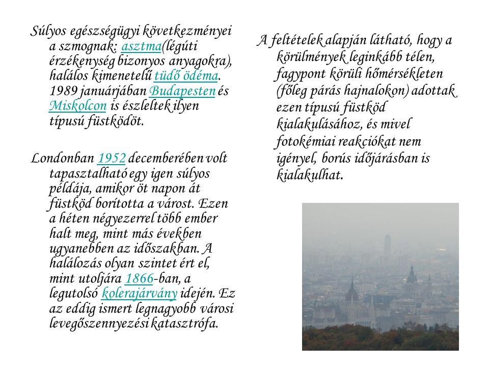 Súlyos egészségügyi következményei a szmognak: asztma(légúti érzékenység bizonyos anyagokra), halálos kimenetelű tüdő ödéma. 1989 januárjában Budapest