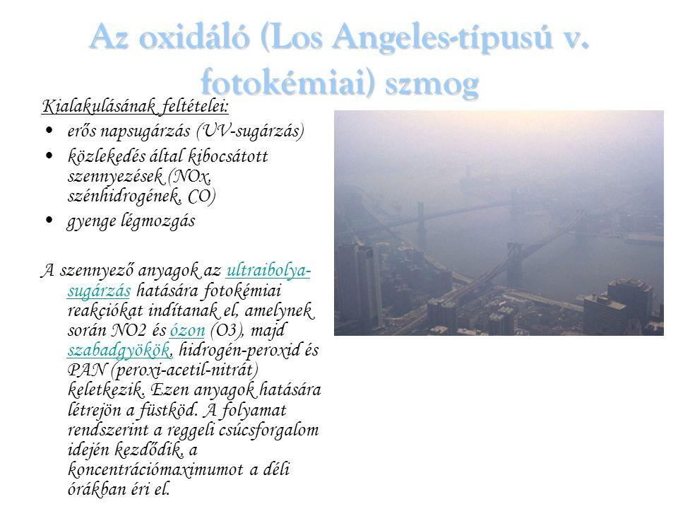 Az oxidáló (Los Angeles-típusú v. fotokémiai) szmog Kialakulásának feltételei: erős napsugárzás (UV-sugárzás) közlekedés által kibocsátott szennyezése