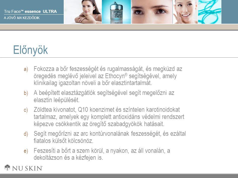 © 2001 Nu Skin International, Inc Tru Face ™ essence ULTRA A JÖVŐ MA KEZDŐDIK Előnyök a) Fokozza a bőr feszességét és rugalmasságát, és megküzd az öregedés meglévő jeleivel az Ethocyn ® segítségével, amely klinikailag igazoltan növeli a bőr elasztintartalmát.
