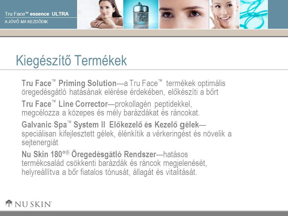 © 2001 Nu Skin International, Inc Tru Face ™ essence ULTRA A JÖVŐ MA KEZDŐDIK Kiegészítő Termékek Tru Face ™ Priming Solution —a Tru Face ™ termékek optimális öregedésgátló hatásának elérése érdekében, előkészíti a bőrt Tru Face ™ Line Corrector —prokollagén peptidekkel, megcélozza a közepes és mély barázdákat és ráncokat.
