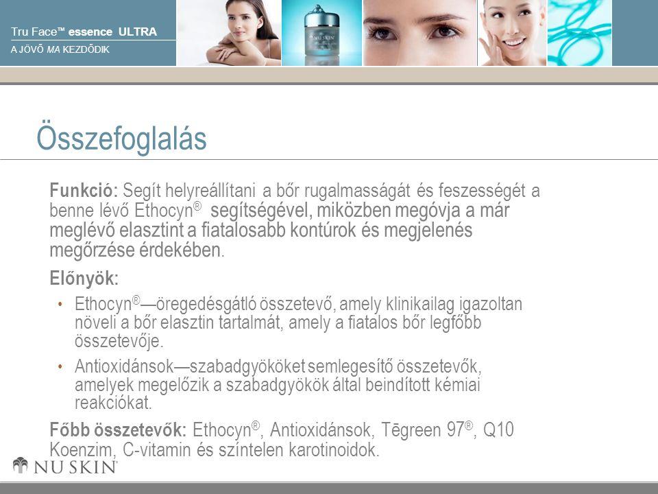 © 2001 Nu Skin International, Inc Tru Face ™ essence ULTRA A JÖVŐ MA KEZDŐDIK Összefoglalás Funkció: Segít helyreállítani a bőr rugalmasságát és feszességét a benne lévő Ethocyn ® segítségével, miközben megóvja a már meglévő elasztint a fiatalosabb kontúrok és megjelenés megőrzése érdekében.
