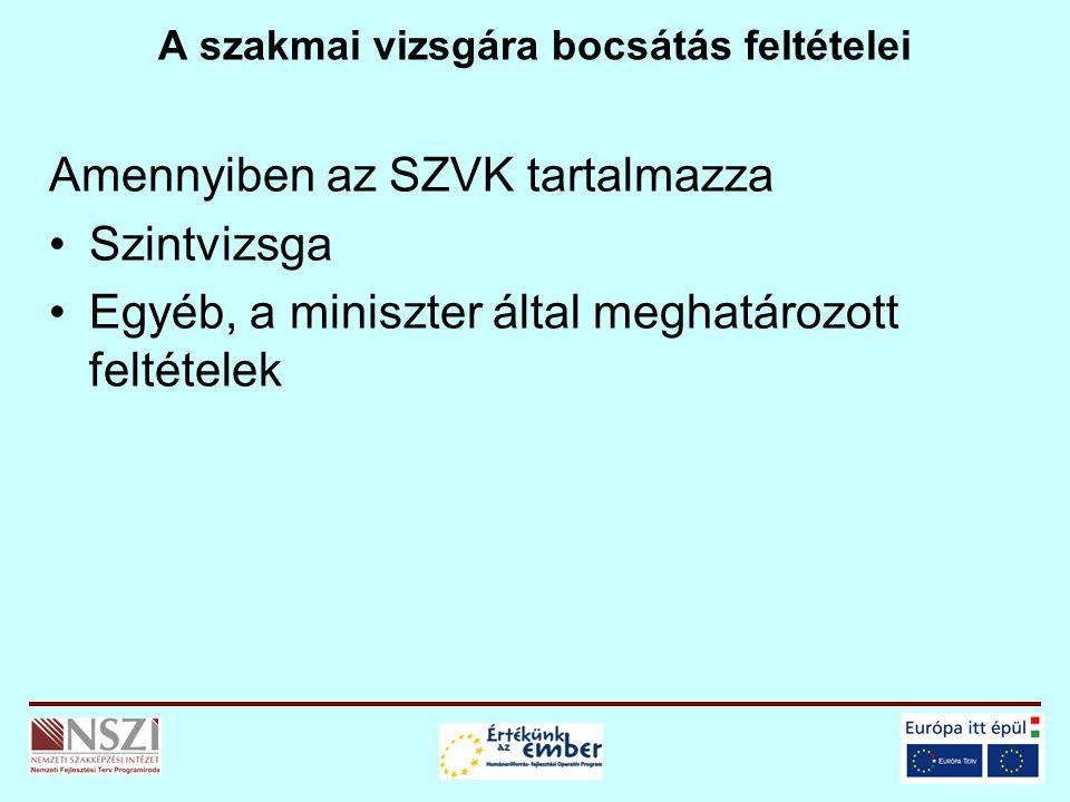 A szakmai vizsgára bocsátás feltételei Amennyiben az SZVK tartalmazza Szintvizsga Egyéb, a miniszter által meghatározott feltételek
