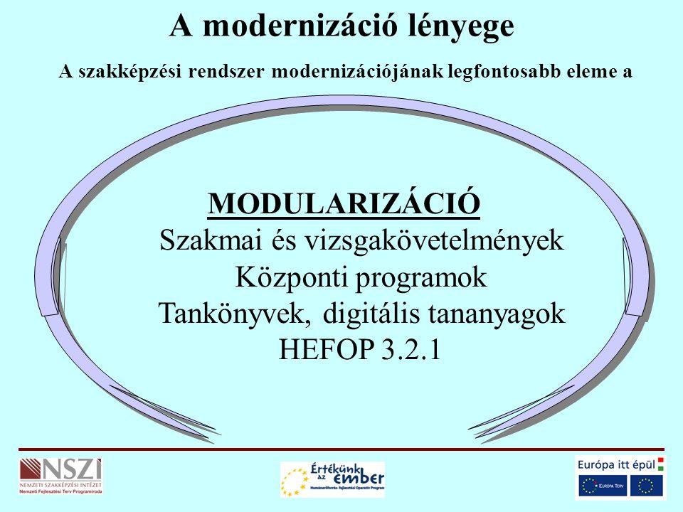 A modernizáció lényege A szakképzési rendszer modernizációjának legfontosabb eleme a MODULARIZÁCIÓ Szakmai és vizsgakövetelmények Központi programok Tankönyvek, digitális tananyagok HEFOP 3.2.1