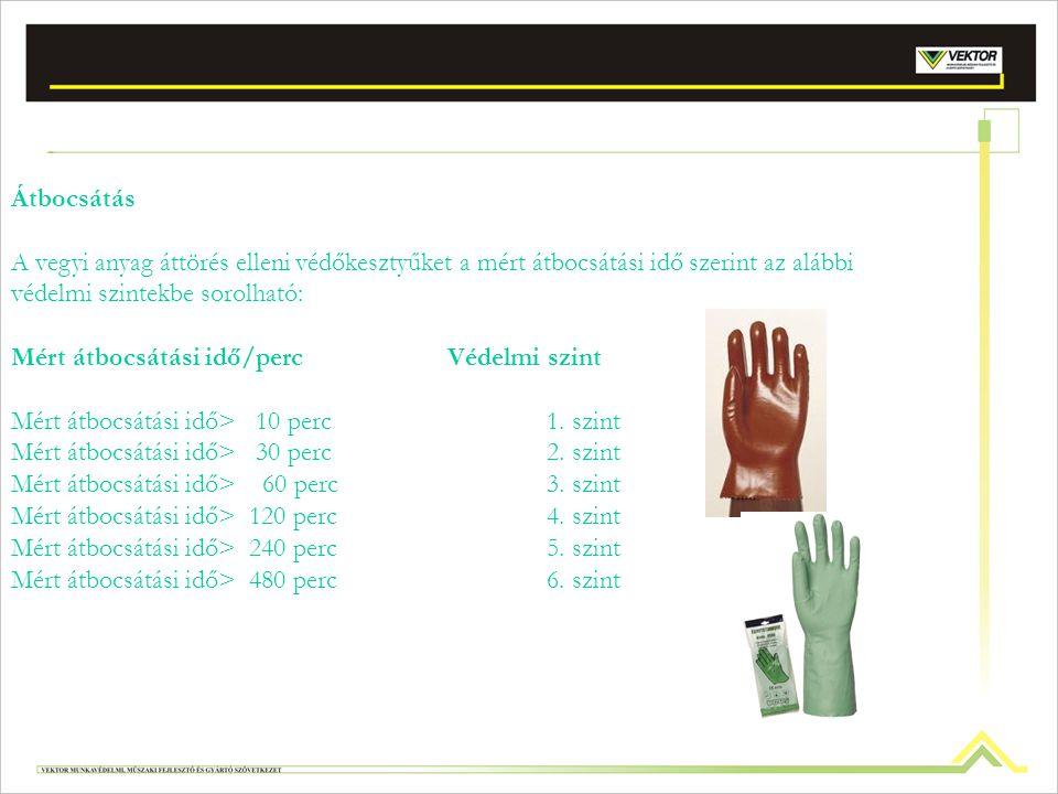 Vegyi hatások ellen védő kesztyűk (MSZ EN 374-1, 374-3:2003): gumi (pl: nitril, latex), műbőr (pl. olaj ellen), PVC Vegyi oldatba merített tárgyak moz