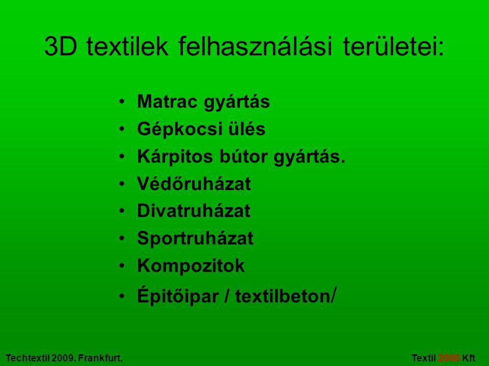 Techtextil 2009.Frankfurt. Textil 2000 Kft A nemszőtt textilek új alkalmazási lehetőségei.