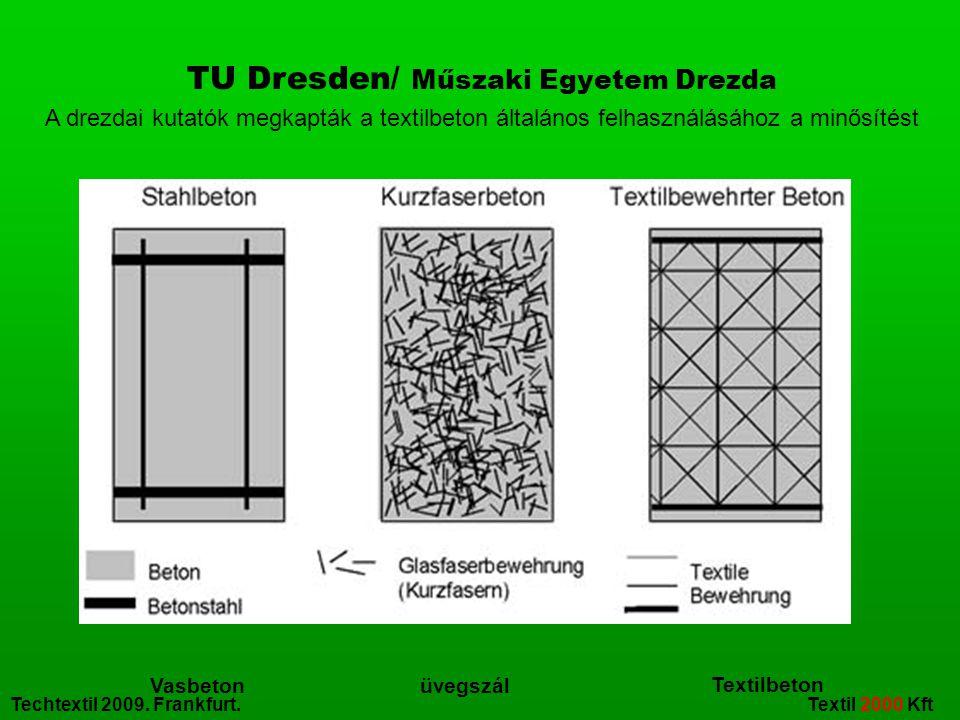 Techtextil 2009. Frankfurt. Textil 2000 Kft Vasbeton Textilbeton üvegszál TU Dresden/ Műszaki Egyetem Drezda A drezdai kutatók megkapták a textilbeton