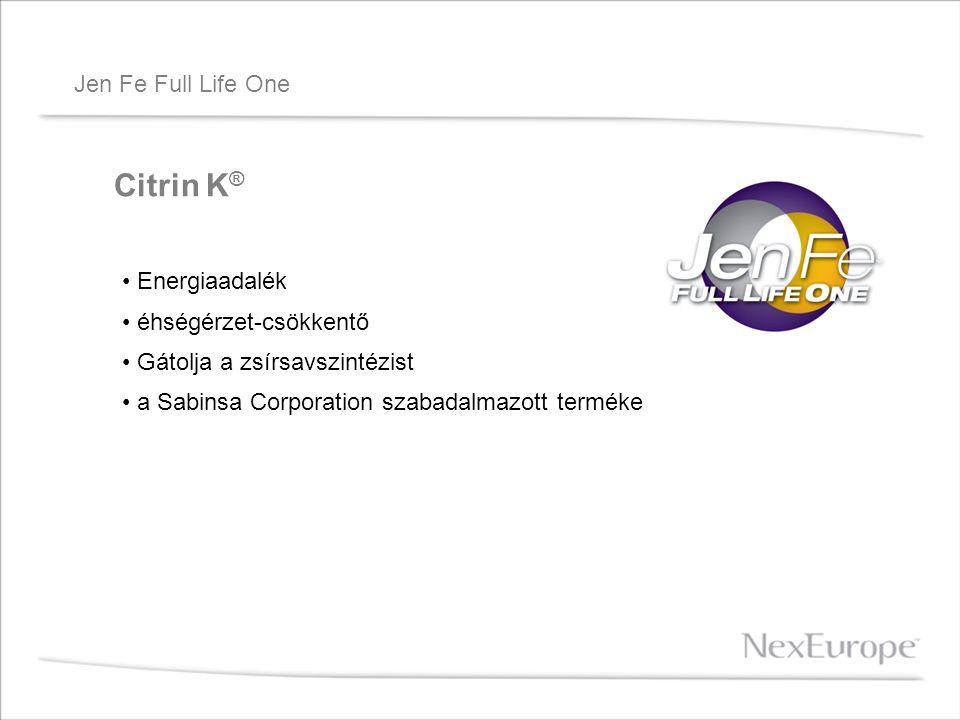 Jen Fe Full Life One Citrin K ® Energiaadalék éhségérzet-csökkentő Gátolja a zsírsavszintézist a Sabinsa Corporation szabadalmazott terméke