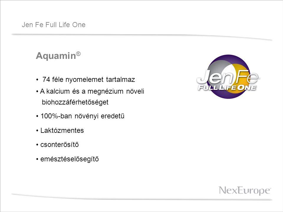 Jen Fe Full Life One Aquamin ® 74 féle nyomelemet tartalmaz A kalcium és a megnézium növeli biohozzáférhetőséget 100%-ban növényi eredetű Laktózmentes