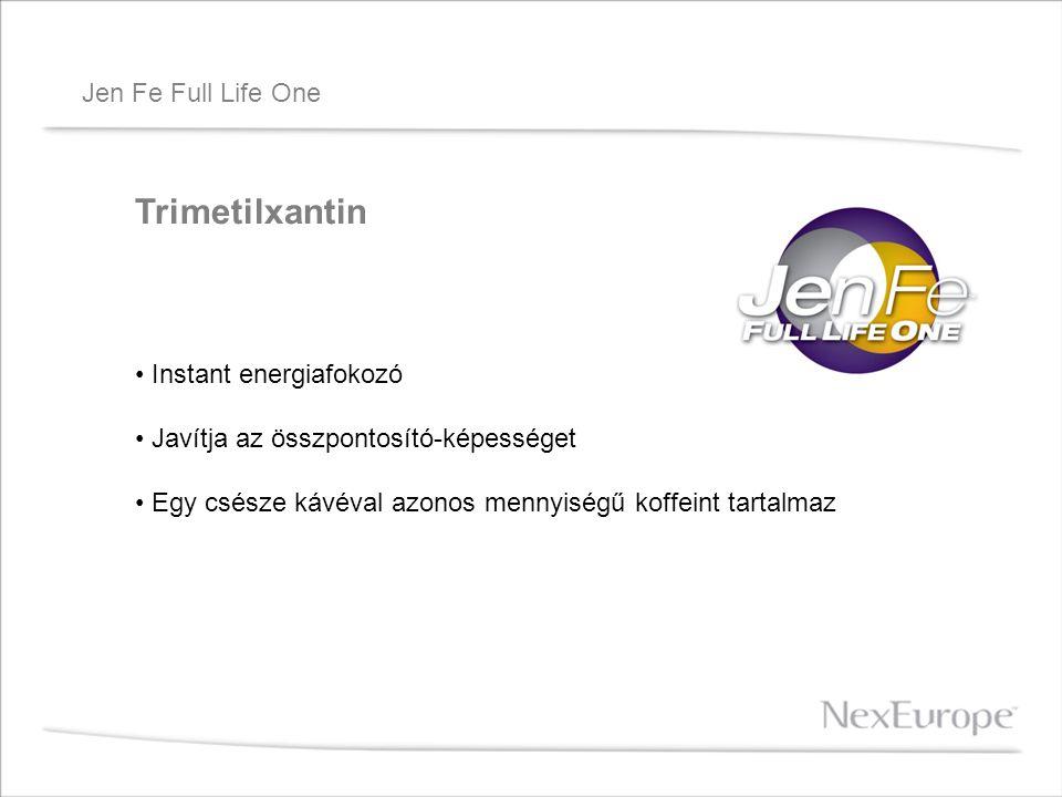 Jen Fe Full Life One Trimetilxantin Instant energiafokozó Javítja az összpontosító-képességet Egy csésze kávéval azonos mennyiségű koffeint tartalmaz